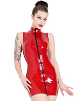 Glued Latex Polo Dress with Zipper - up to 4XL