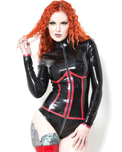 Glued Latex Enigma Black and Red Body with 2 Way Zipper