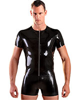Glued Black Rubber Front Zipped T-Shirt