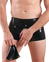 Glued Latex Rubber Rubber Keyhole Boxers With Detachable Pouch