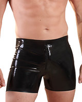 Glued Black Latex Front Zip Boxer Shorts