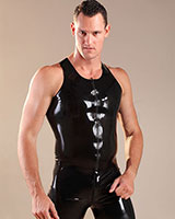 Glued Black Rubber Front Zip Vest