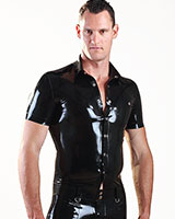 Glued Black Rubber Short Sleved Shirt