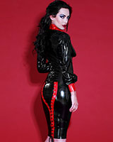Glued Rubber Mistress Skirt - Black with Red