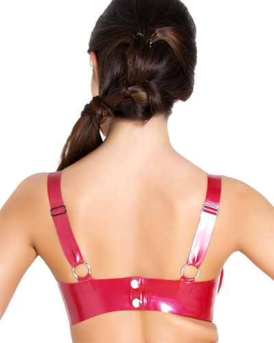 Glued Metallic Red Latex Starbust Bra