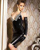 Glued Latex Dynasty Halter Dress