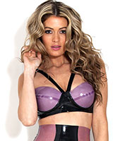 Glued Black and Purple Latex Starbust Bra