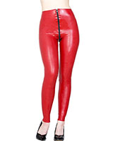 Glued Red Latex Skinny Jeans with 3 Way Zipper