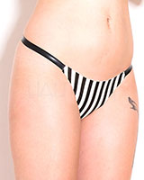 Glued Latex Polly Pinstripe Thong