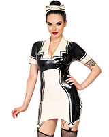 Glued Latex Matilda Maid's Dress with Hair Bow