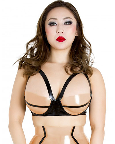 Glued Latex Black and Nude Broadway Bra