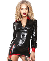 Glued Black with Red Latex Disciplinarian Shirt