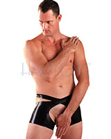 Glued Black Rubber Men's Open Shorts