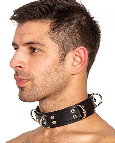 Heavy Rubber Bondage Collar with 4 D-Rings