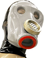 Gasmask with Red Lips and Back Zipper