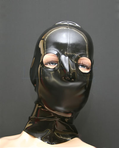 Latex Hood with Reinforced Eyes Openings and Zip