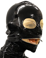 Glued Latex Hood with Mouth Zipper and Translucent Eyes