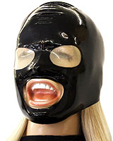 Glued Latex Hood with Mouth Opening and Translucent Eyes