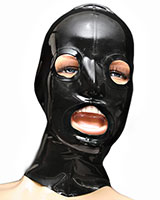 Glued Latex Hood with Reinforced Openings and Zipper