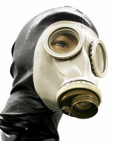 Gas Mask with Glued Latex Hood and Zipper