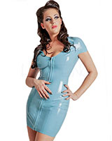 Glued Latex Short Sleeved Minidress