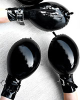 Inflatable Latex Bondage Mittens