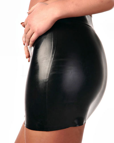 Glued Rubber Mini Skirt with Zipper - Made to Measure Available