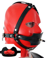 Thick Rubber Head Harness with Butterfly Gag - Also as Lockable