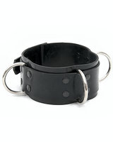 Rubber Slave Collar with 3 D-Rings - also as Lockable