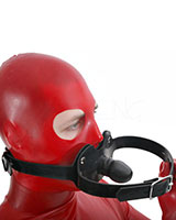 Thick Black Rubber Double Gag - optional Lockable