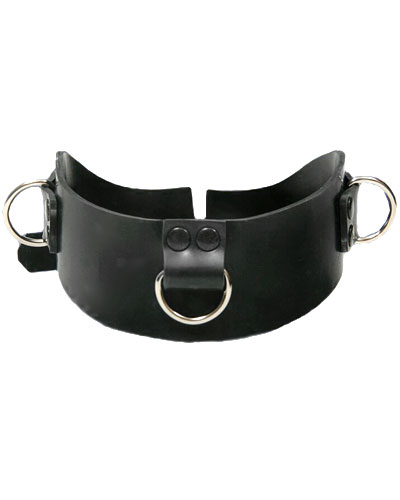 Heavy Rubber Bondage Collar with 3 D-Rings - also as Lockable