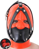 Heavy Rubber Muzzle with Infl. Butterfly Gag and Head Harness