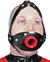 Hollow Gag with Thick Rubber Head Harness - Also as Lockable