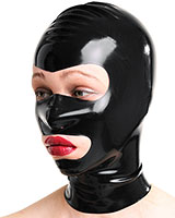 Latex Hood with Eyes and Mouth Opening- Optional with Zip