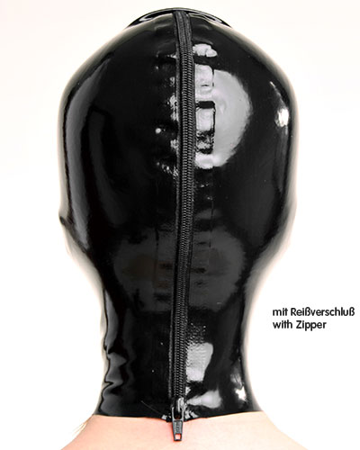 Latex Hood with Eyes and Mouth Openings- Optional with Zip