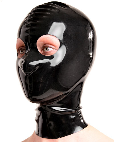 Latex Hood with Large Eyes Openings - Optional with Zip