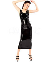 Long Sleeveless Latex Dress - up to Size 3XL