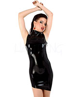 Latex Mini Dress with Asymmetric Hem