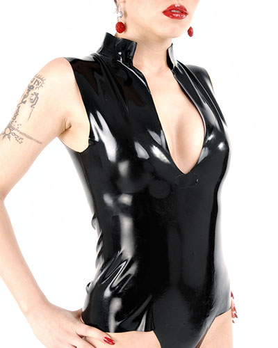 Sleeveless Semitransparent Latex Shirt - Size M