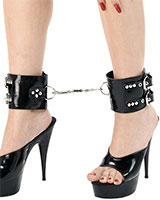1.8 mm Latex Ankle Cuffs with D-Rings and Carabiner Connection