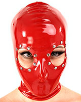 Latex Hood with Studded Large Eyes Openings - Optional with Zip