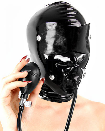 Latex Hood with Inflatable Gag and Detachable Flaps