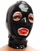 Latex Bondage Mask with O-Ring Collar