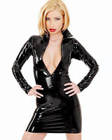 Long Sleeved Latex Mini Dress with Zipper