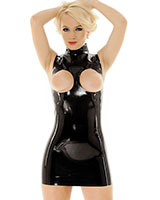Latex Mini Dress with Open Boobs - up to Size 3XL