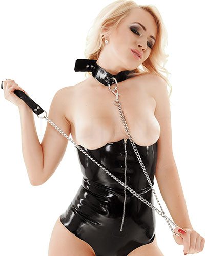 Metall Leash with Latex Loop