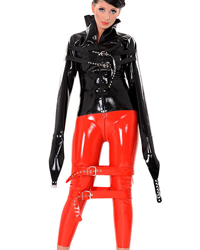 Latex Bondage Pants with 2 Way Zipper through Crotch