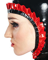 Latex Maids Hood with Frills - also Available with Zip