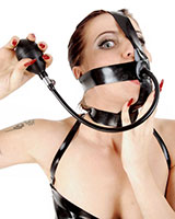 Face Harness aus Latex mit aufpumpbarem Knebel