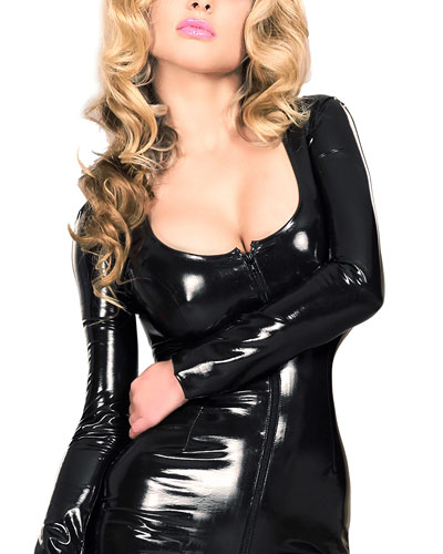 Long Sleeved Datex Catsuit with 2 Way Zipper
